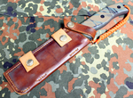 Our Hand Crafted Hand Made Rowan Cutlery (ESEE) RAT-6 Horizontal Carry Leather Belt Sheath